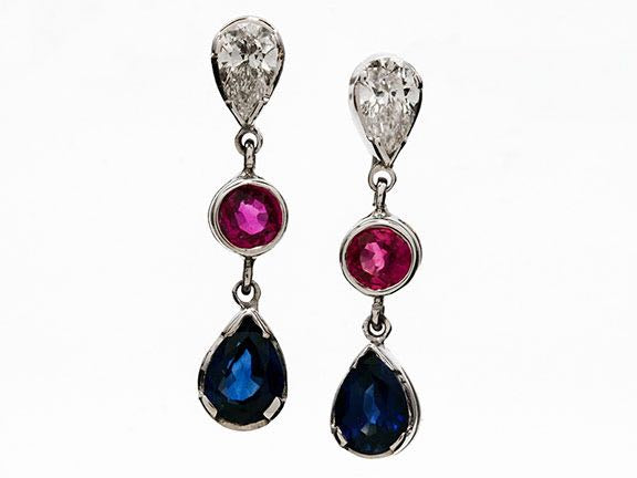 Pink and Blue Sapphire Earrings with Diamonds