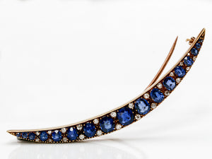 Spectacular Antique Sapphire and Diamond Crescent Brooch