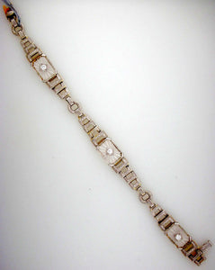 1929 Antique Art Deco Diamond and Quartz Bracelet