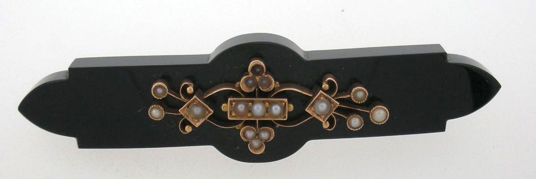 Antique Victorian Onyx and Natural Pearl Brooch