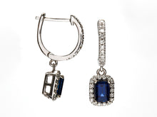 Load image into Gallery viewer, Blue Sapphire and Diamond Drop Earrings