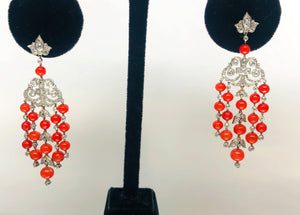 Amazing Vintage Style Coral and Diamond Chandelier Earrings