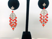 Load image into Gallery viewer, Amazing Vintage Style Coral and Diamond Chandelier Earrings