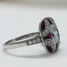 Load image into Gallery viewer, Fantastic Vintage Style Oval Diamond and Ruby Ring