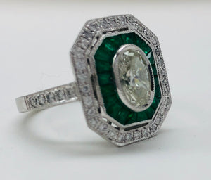 Vintage Style Oval Diamond And Emerald Platinum Ring