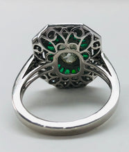 Load image into Gallery viewer, Vintage Style Oval Diamond And Emerald Platinum Ring