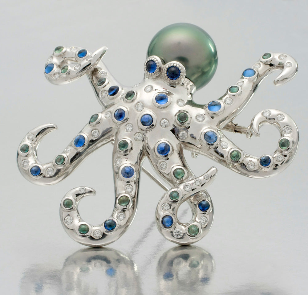 Fantastic 10,000 Leagues Under the Sea Platinum Octopus Brooch