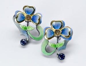 Nouveau 1910 Life Collection 18k Yellow Gold and Sterling Silver Enameled Earrings