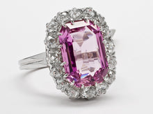 Load image into Gallery viewer, Antique Pink Topaz and Diamond Dinner Ring