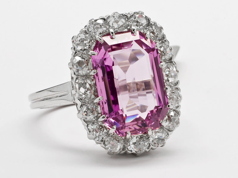 Antique Pink Topaz and Diamond Dinner Ring