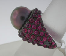 Load image into Gallery viewer, Outrageous Black Pearl and Ruby Bombay Ring