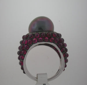 Outrageous Black Pearl and Ruby Bombay Ring