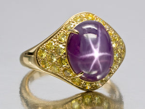 Super Grimace Purple Star Sapphire and Natural Canary Diamond Ring