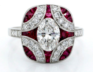 Fantastic Vintage Style Oval Diamond and Ruby Ring