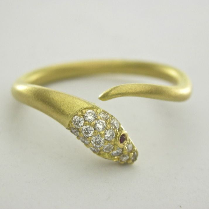 Vintage Style Diamond Snake Wrap Ring in 18kt Brushed Gold