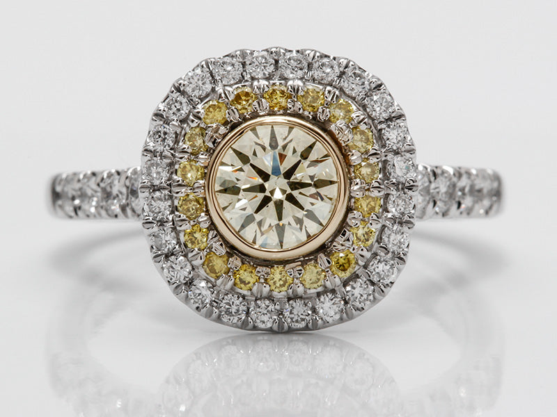 Seng Firey Diamond™ Double Halo Ring With Canary Diamonds