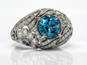 Vintage Style Amazing Aquamarine and Diamond Fancy Ring