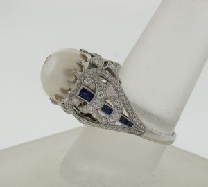 Vintage Style South Sea Pearl, Diamond, and Sapphire Ring