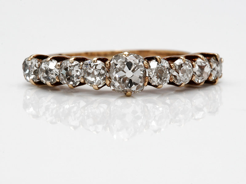 Antique Old Mine Cut Diamond Band in Yellow Gold