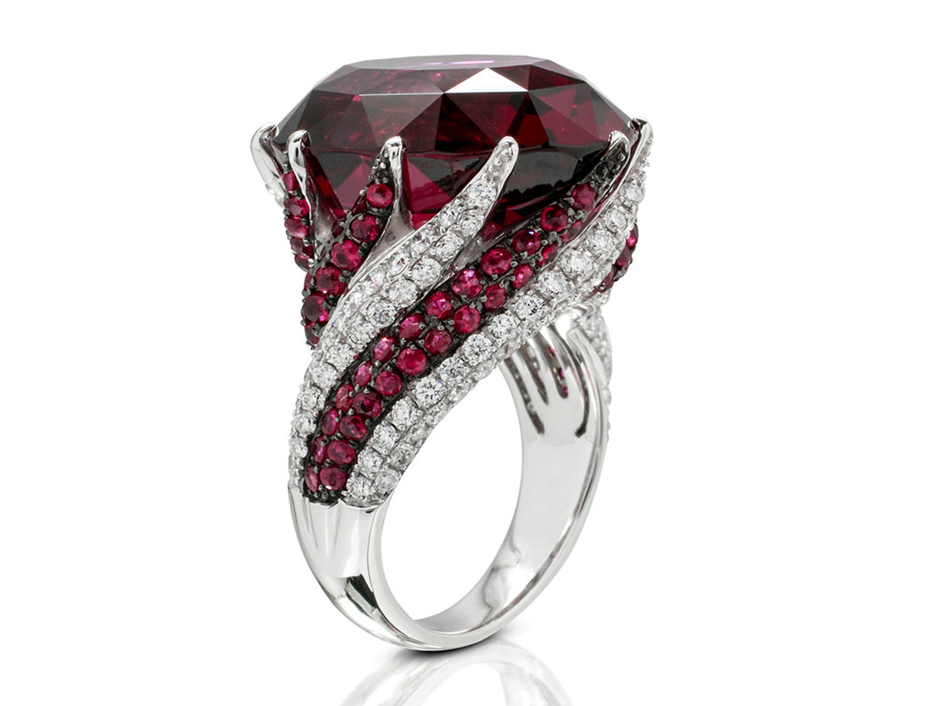 Unreal Garnet and Diamond Swirl Ring