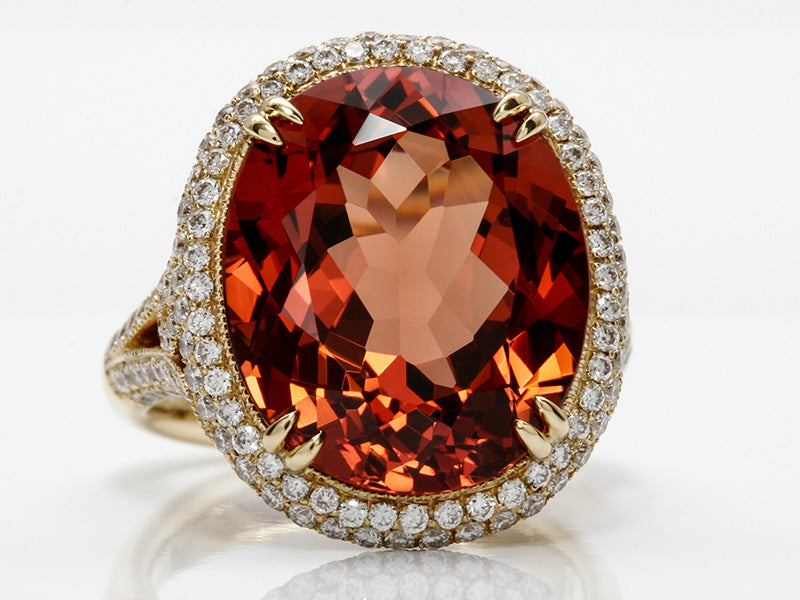 Rare and Beautiful Blush Orange Garnet and Diamond Ring