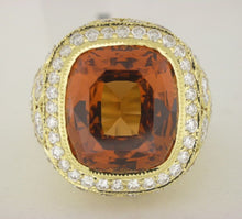Load image into Gallery viewer, Rare Antique Orange Garnet and Diamond Ring