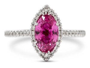 Platinum 2.05ct Marquise Shaped Pink Sapphire and Diamond Ring