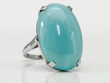 Load image into Gallery viewer, Classic Platinum Turquoise and Diamond Ring
