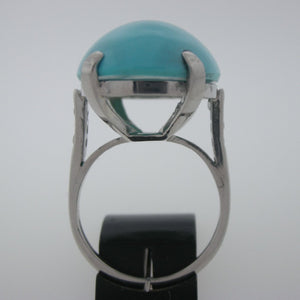 Classic Platinum Turquoise and Diamond Ring