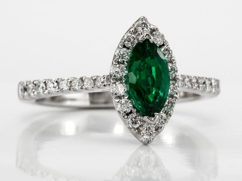 Enchanting Green Emerald and Diamond Ring