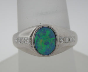 Antique Platinum Black Opal and Franch Cut Diamond Ring