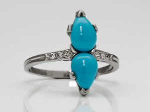 Antique Twin Turquoise and Diamond Ring