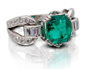 Antique Emerald and Diamond One of a Kind Ring
