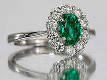 Load image into Gallery viewer, Dainty Oval Emerald and Diamond Ring in 18kt Gold