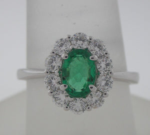 Dainty Oval Emerald and Diamond Ring in 18kt Gold