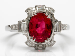 Brilliant Antique Ruby and Diamond Ring