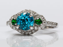 Load image into Gallery viewer, Vivid Caribbean Blue Zircon, Tsavorite, and Diamond Platinum Ring