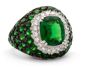 Mother Earth Handmade Platinum Tsavorite Garnet and Diamond Bombay Ring