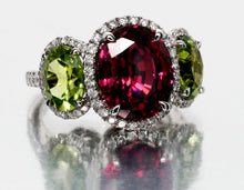 Load image into Gallery viewer, 18kwg Garnet, Peridot, and Diamond Ring
