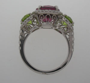 18kwg Garnet, Peridot, and Diamond Ring