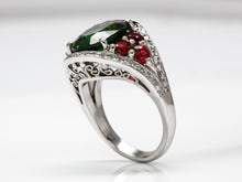 Load image into Gallery viewer, Handmade Christmas Color Tourmaline, Spinel, and Diamond Platinum Ring