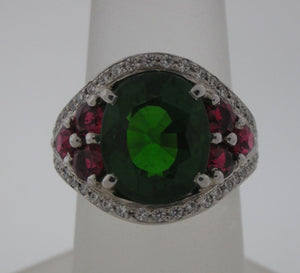 Handmade Christmas Color Tourmaline, Spinel, and Diamond Platinum Ring