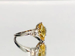 Antique Marquise Canary Diamond With Halfmoon Sides in Platinum
