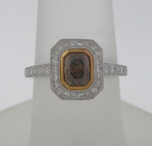 Bourbon Color Flanders Cut Natural Diamond Ring