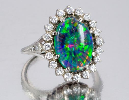 Magnificent Black Crystal Opal and Diamond Ring
