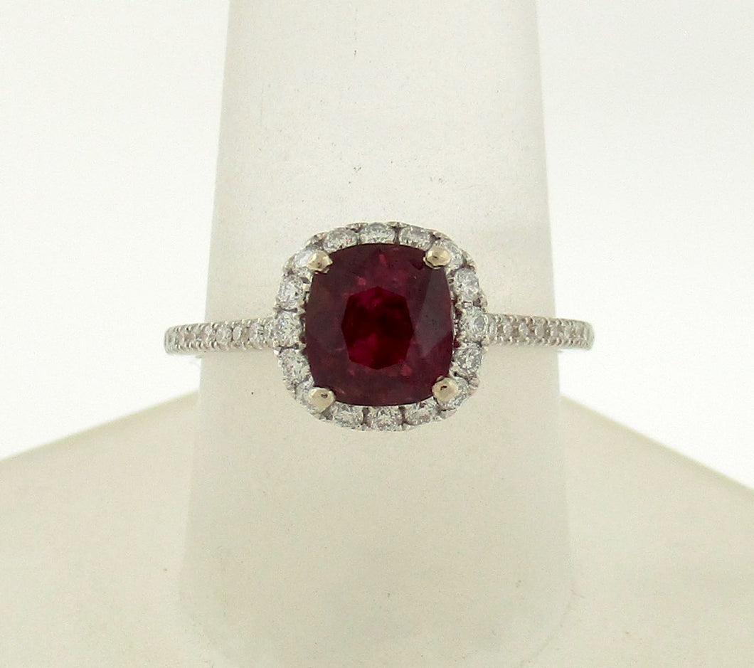 Dainty 1.21ct Deep Red Cushion Shaped Ruby and Diamond Ring