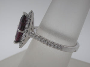 Deep Red Marquise Ruby and Diamond Ring