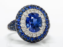 Load image into Gallery viewer, Amazing Sapphire, Diamond, and Sapphire Ring