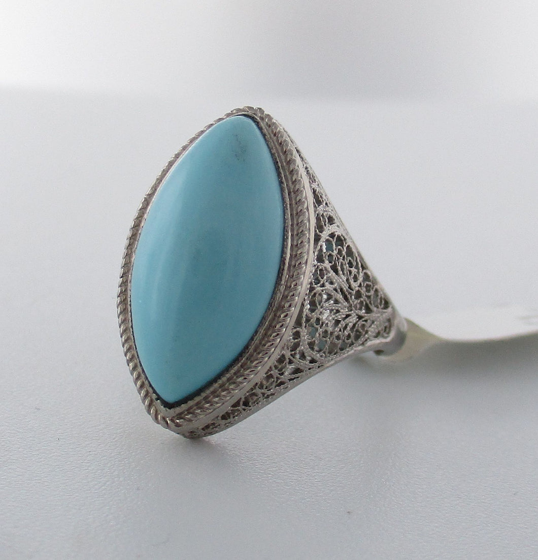 Antique Armenian Handmade Turquoise Ring
