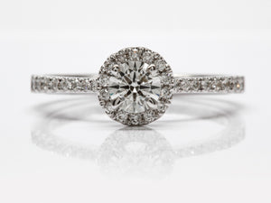 Dainty Seng Firey Diamond™ Halo Ring in White Gold